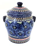 Polish Pottery Blue Art Large Canister