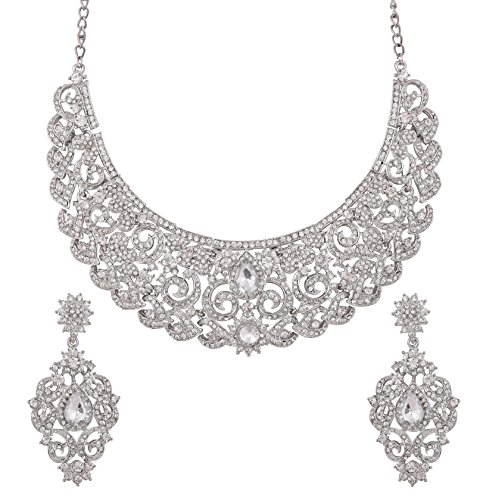 Touchstone Hollywood Glamour paisley motif filigree work white Rhinestone stylish grand bridal designer hasli necklace set for women in silver tone by Touchstone