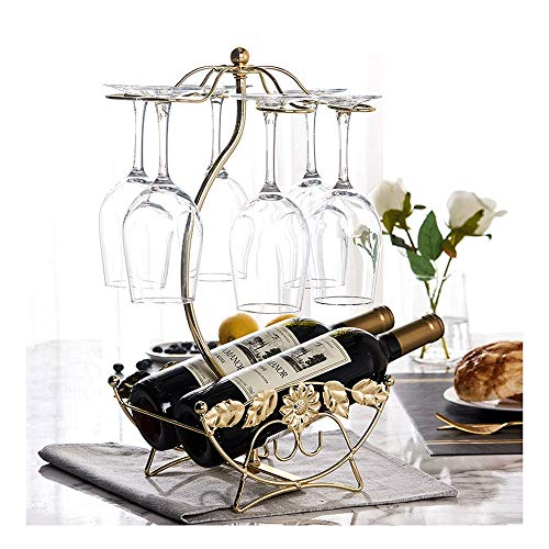 (QJGhy Wine Rack Wine Cup Rack Holds 2 Bottles and 6 Cups Wine Racks Free Standing Floor Perfect for Cabinet, Tabletop Countertop Wine Bottle Holder (Color : Gold))
