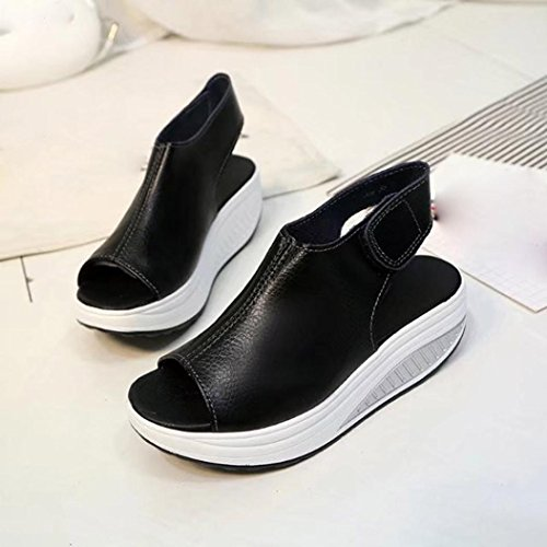 Bovake Summer Women Sandals, Bohemian Leather Platform Buckle Sandals Thick Bottom Higt Heel Shoes - Beach Sandals Wedges Shoes Footwear Flat Flip Flop Sandal | No Rubbing | Toes Comfortable Black