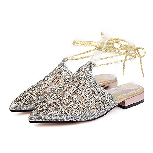 AmoonyFashion Womens Lace Up Closed Toe Low Heels Assorted Color Sandals Silver IWKge6QRZS