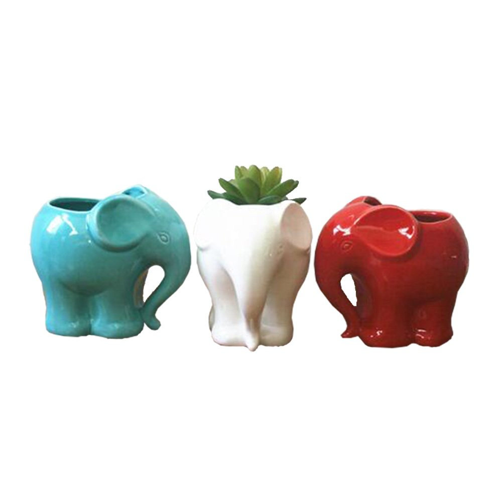 Youfui Cute Succulent Planter Animal Shaped Flower Pot Decor for Home Office Desk White Blue Red