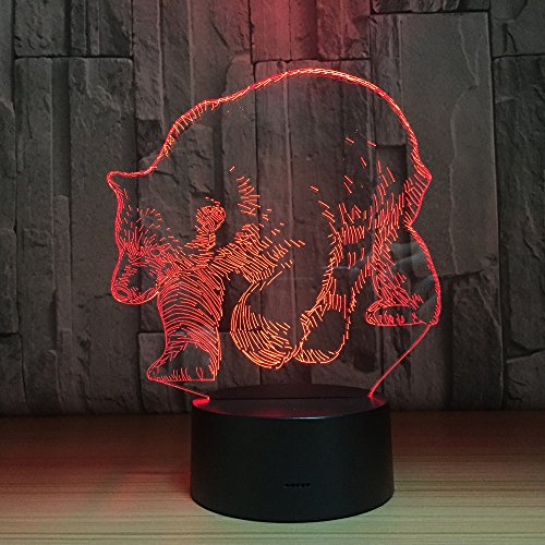 Circle Circle Grizzly Polar Bear Colorful Gradients 3D Optical Illusion Lamp 7 Colors Change and 15 Keys Remote Control Children Kids Bedside Table LED Night Light