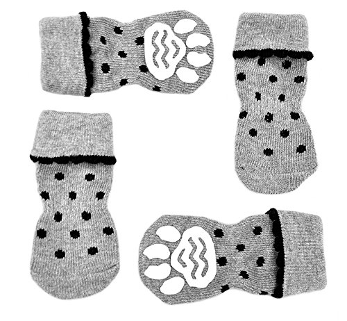 Knit Dog Booties - Posch Pet Socks for Small and Medium Breed Dogs. Anti-Slip Knit Socks with Traction Soles for Indoor Wear. Slip On Paw Protectors. Size L, Black Polka Dot