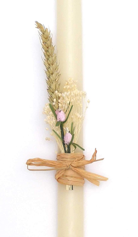 vela de bautizo-flor cl/ásico 52x2,5cm-POSIBILIDAD DE PERSONALIZAR CON EL NOMBRE Y LA FECHA DEL BAUTIZO EN ROSA AZUL O DORADO