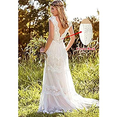 XJLY Women's Lace Country Style Wedding Dresses Double V Neck with Button Wedding Gwons at Women's Clothing store
