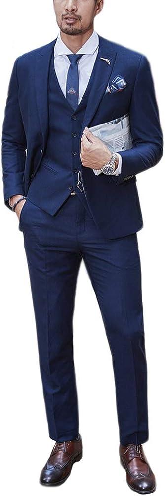 Newdeve Men's Navy Blue Formal Business Suits 2 Buttons 3 Pieces Vintage Sets