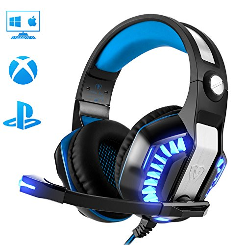 Gaming Headset for PC PS4 Xbox One, Beexcellent Super Comfort Noise Cancelling Stereo Deep Bass 3.5mm LED Professional Headphone with...