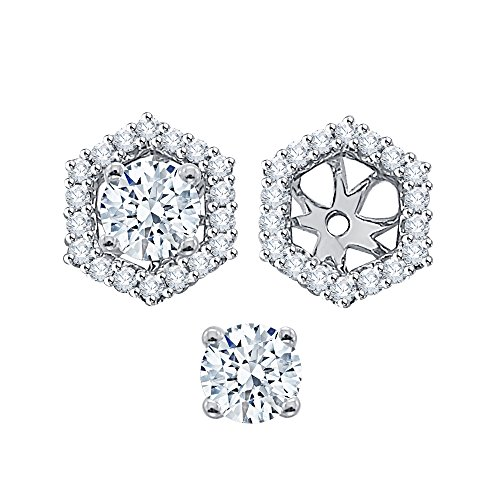 Diamond Earring Jackets in 14K White Gold (1/4 cttw) (Color GH, Clarity I1-I2) by KATARINA (Image #4)