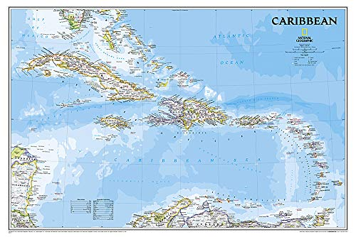 National Geographic: Caribbean Classic Wall Map (Poster Size: 36 x 24 inches) (National Geographic...