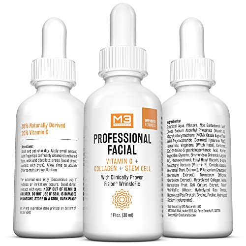 51sCTWQwwgL - M3 Naturals Professional Facial Vitamin C Infused with Collagen Stem Cell and Patented Fision Wrinkle Fix Face Eye Oil Topical Facial Serum Natural Skin Care Acne Anti Aging Dark Spot Remover Cream