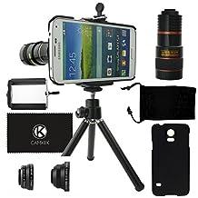 Samsung Galaxy S5 Camera Lens Kit including an 8x Telephoto Lens / Fisheye Lens / 2 in 1 Macro Lens and Wide Angle Lens / Mini Tripod / Universal Phone Holder / Hard Case for S5 / Velvet Phone Bag / CamKix® Microfiber Cleaning Cloth (Black)