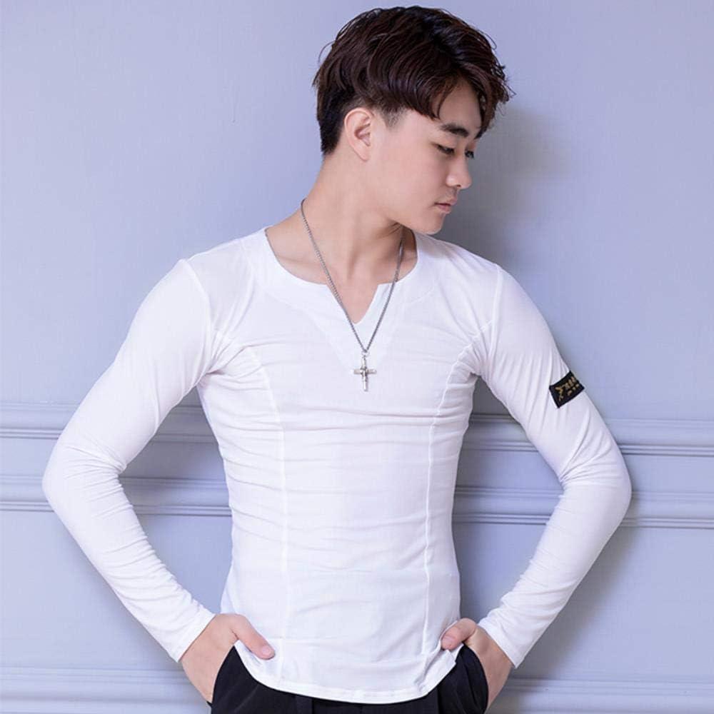 kuoshaoye Camisetas de Baile Latino para Hombre, de algodón con Cristales, Manga Larga, Cuello en V Blanco Blanco L: Amazon.es: Ropa y accesorios