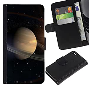 iKiki Tech / Cartera Funda Carcasa - Saturn Rings Space Universe Cosmos Stars Solar - Apple iPhone 4 / 4S
