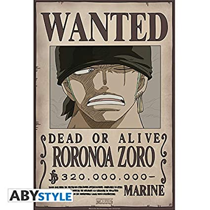 AbyStyle Abysse Corp_ABYDCO428 One Piece-Poster Wanted Zoro New (52X35)