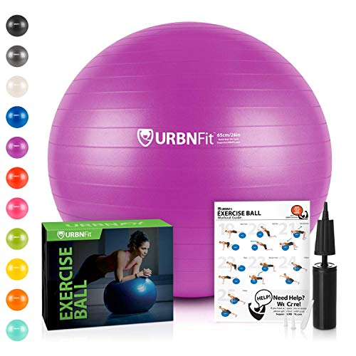 (URBNFit Exercise Ball (Multiple Sizes) for Fitness, Stability, Balance & Yoga - Workout Guide & Quick Pump Included - Anti Burst Professional Quality Design (Purple, 55CM))
