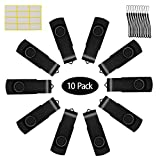 Uflatek 10 Pcs 512MB Thumb Drive Rotating USB 2.0 Memory Stick Black Color Flash Drive Frosted Pen Drive Foldable USB Sticks External Data Storage with Lanyards