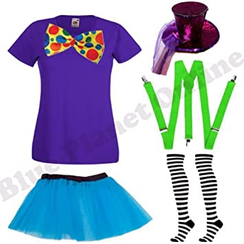 Ladies Mad Hatter Alice In Wonderland Fancy Dress Costume (Top,Bow  Tie,Braces,Top Hat,Socks,Skirt) (Women: 12): Amazon.co.uk: Toys U0026 Games