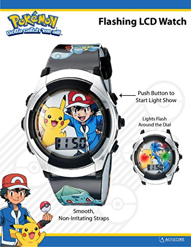 Large Product Image of Pokémon Kids' Digital Watch with Silver Bezel, Black Strap, Flashing LED Lights - Official Pokémon Characters on the Dial, Safe for Children - Model: POK3018