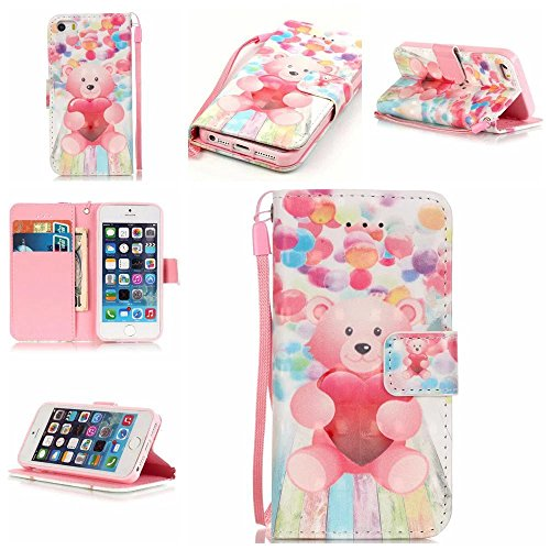 IPhone5/5S 5SE Case, Kmety Balloon Bear PU Synthetic Leather Wristlet Magnet Snap Wallet [Credit Card/Cash Slots] Kickstand Flip Case Cover for IPhone5/5S 5SE