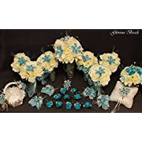Turquoise / Teal and Ivory BEADED Flower Lily Bridal Bouquet 25 PC Set Wedding Set with Roses. Unique Beaded flowers. Includes Bouquets, Corsages, Boutonnieres, basket and pillow