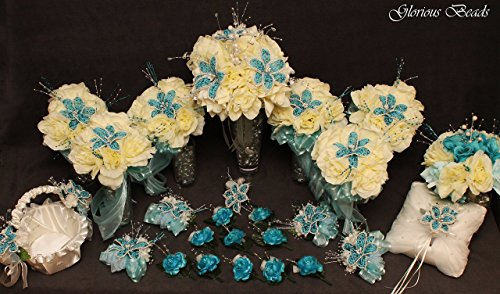 Turquoise / Teal and Ivory BEADED Flower Lily Bridal Bouquet 25 PC Set Wedding Set with Roses. Unique Beaded flowers. Includes Bouquets, Corsages, Boutonnieres, basket and pillow by Glorious Beads