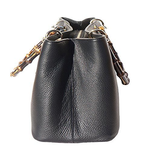 9139 Hardware Golden With Veronica Handle Leather Bags Metal Black Handbag And Bamboo FFzr8q