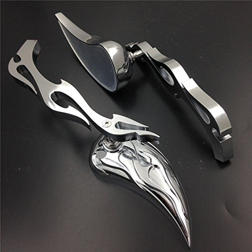 XKH Group Motorcycle Motor Billet Alloy Teardrop Flame Custom Mirror for Harley Softail Fatboy Sportster new
