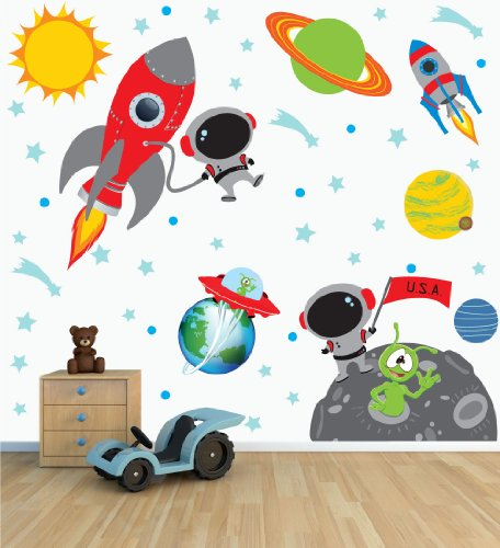 Space Wall Decal with Astronaut rocket and moon for Baby Nursery or Boyu0027s Room  sc 1 st  CAS Michigan & Space Wall Decal with Astronaut rocket and moon for Baby Nursery ...