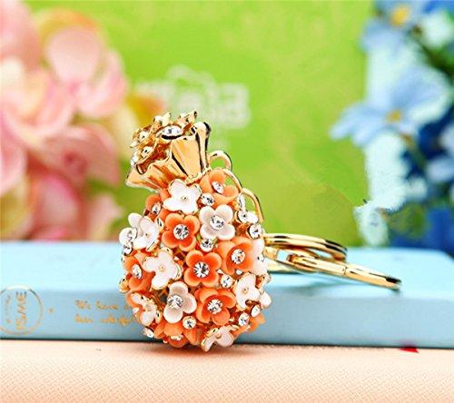 Pineapple Shape Little Daisy Flowers Car Key Chain Key Jewelry Keyring Fashion Trinket Souvenir Christmas Gift Bag Key Holder Decorations - Orange