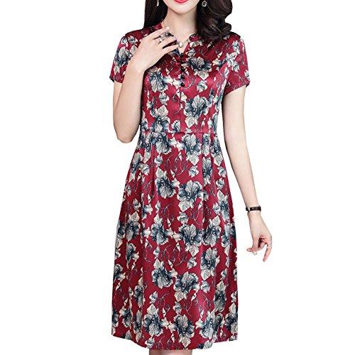 girl E Damen Gestreift Abendkleid S2923 Kleider Cocktail Rot Seide Übergröße Kleid Midi dqUqZCpEw