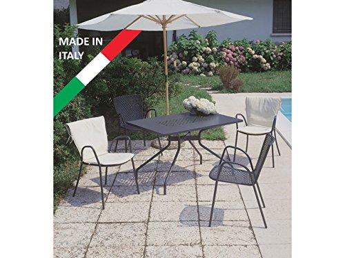 classic set tisch 120 x 80 mit 4 st hle metall anthrazit outdoor garten terrasse balkon design. Black Bedroom Furniture Sets. Home Design Ideas