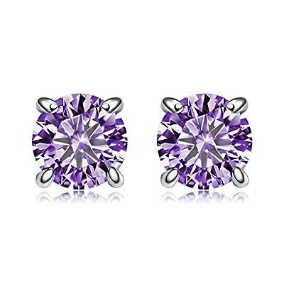 new BGTY Jewelry Sterling Silver Round Cut Purple Cubic Zirconia Stud Earrings,6mm for sale