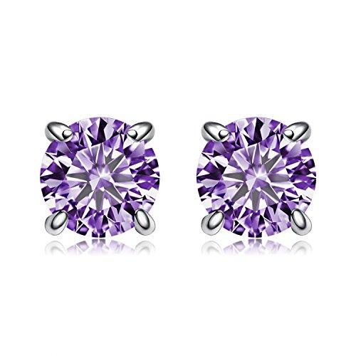 BGTY Jewelry Sterling Silver Round Cut Purple Cubic Zirconia Stud Earrings,6mm
