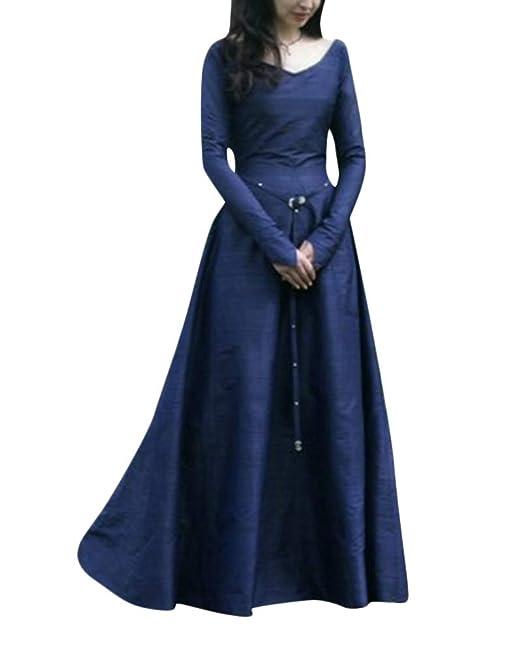 PengGengA Disfraz De V Cuello En V Medieval para Mujer Vestido Largo Manga Larga Vintage: Amazon.es: Ropa y accesorios