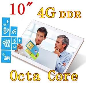 ARBUYSHOP 10 pulgadas 8 núcleo Octa Núcleos 1280X800 IPS DDR3 de 4 GB ram tarjeta sim 16GB 8.0MP 3G dual WCDMA + GSM Tablet PC Tablets PCS Android4.4 7 9, blancos 64G versión, Añadir cuero caso 64G