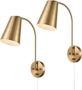 DANXU Modern Plug in Wall Sconce with Cord Set of 2 Brass Wall Light