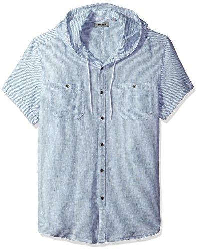 Kenneth Cole REACTION Men's Short Sleeve Hood Mini Stripe Woven Shirt, Nautical Combo, Large (Kenneth Cole Reaction Sweatshirt)