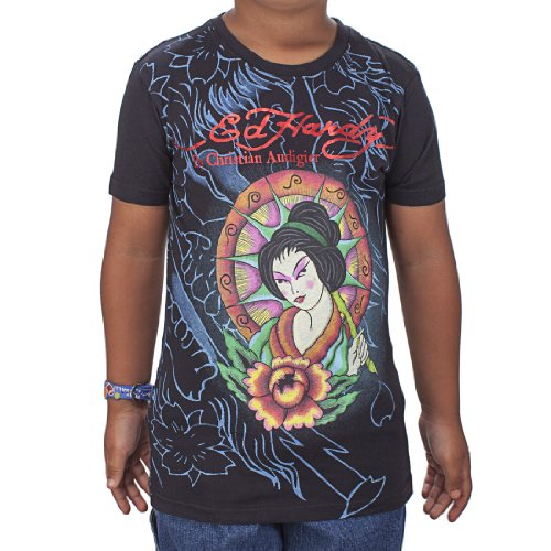Geisha Girl T-shirt - Ed Hardy Big Girls' Geisha T-Shirt - Black - Large
