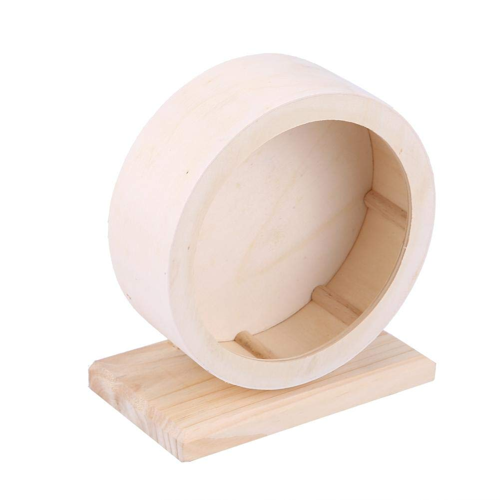 HEEPDD Hamster Wheel, Wooden Exercise Wheel Pets Funny Running Wheel Rest House Nest Play Toy for Gerbils Chinchillas Hedgehogs Mice Other Small Animals(M)