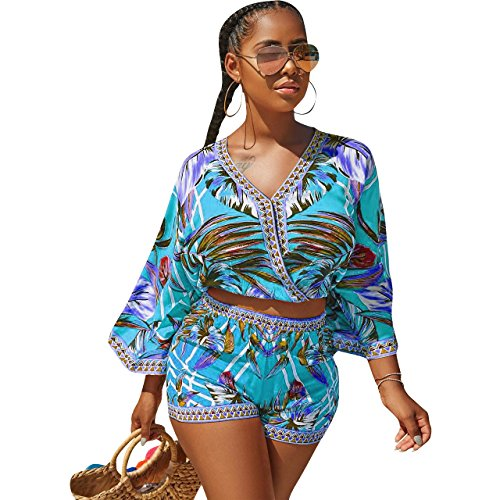 Women's Summer V Neck Floral Print Crop Top Short Pants Jumpsuits Rompers 2 Piece Outfit 11