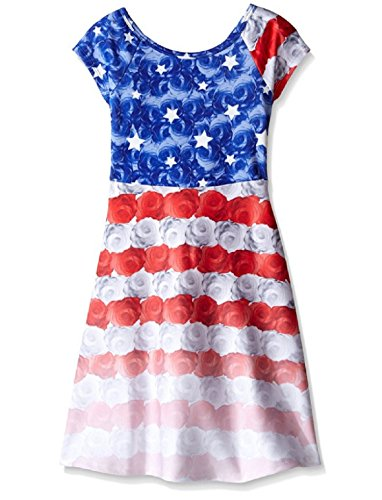 Bonnie Jean Big Girls Red White Blue Colorblock Americana 4th July Dress (6X, Blue)