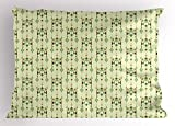 Lunarable Ethnic Pillow Sham, Vintage Tribal Diamond Rhombus Style Mexican Pattern Exotic Retro Motifs, Decorative Standard Size Printed Pillowcase, 26 X 20 inches, Pale Green Multicolor