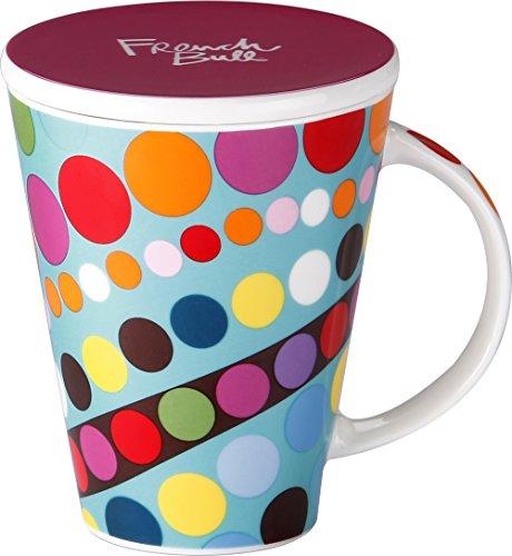 Car Large Mug - French Bull 16 oz. V Mug  - Porcelain Mug - Coffee, Car, Lid, Tea - Bindi
