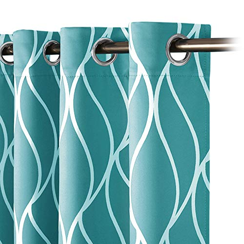 RYB HOME Privacy Protected Curtains for Nursery Gift, Widely Match Pattern Curtains for Home/School Dorm/Office Decoration, Teal, 52