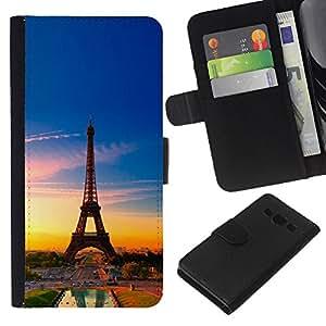 YiPhone /// Tirón de la caja Cartera de cuero con ranuras para tarjetas - Torre Eiffel de Francia - Samsung Galaxy A3
