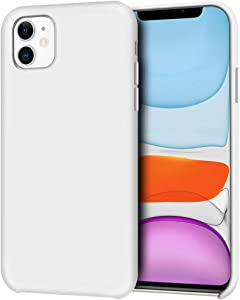 """Anuck iPhone 11 Case, Anti-Slip Liquid Silicone Gel Rubber Bumper Case with Soft Microfiber Lining Cushion Slim Hard Shell Shockproof Protective Case Cover for Apple iPhone 11 6.1"""" 2019 - White"""