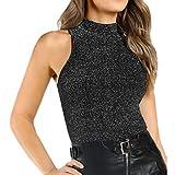 DAYPLAY Women Fashion Sexy Turtleneck Tank Sparkling Sleeveless Vest Tops 2019 Sale Summer Black
