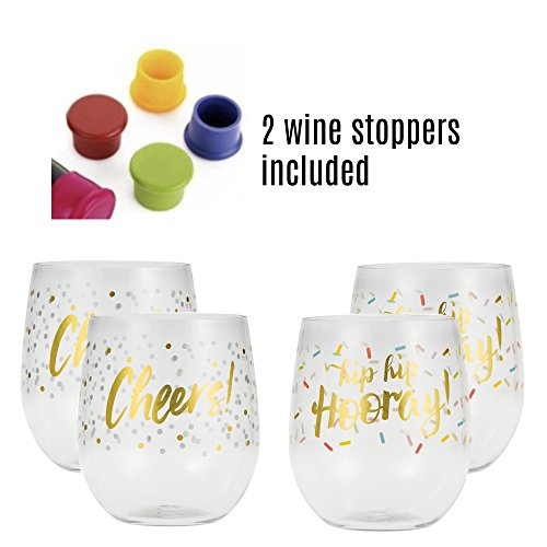 Plastic Wine Glasses Bundle - Gold Foiled Unbreakable Wine Tumbler with Stopper Beer Stopper - 6 piece set