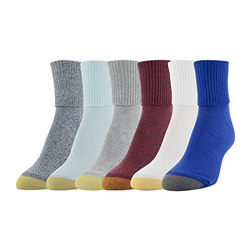 Gold Toe Women's 6-Pack Turn Cuff Sock Classix Mix Shoe Size 6-9/Sock Size 9-11 - Socks Lightweight Cuff